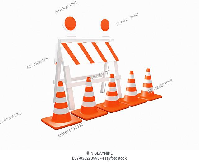 Road barrier or construction sign with lights and group of highway traffic cones with white stripes front it, isolated on white background