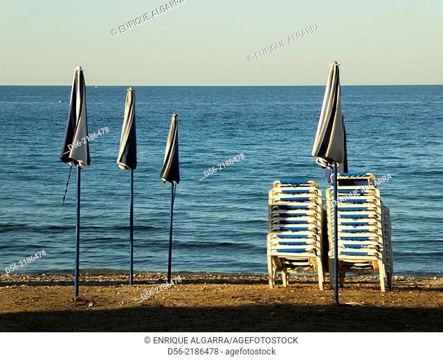 Umbrellas, Tabarca Island, Alicante province, Spain