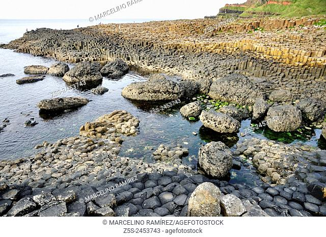 The Giant's Causeway, located in County Antrim on the northeast coast of Northern Ireland. UK