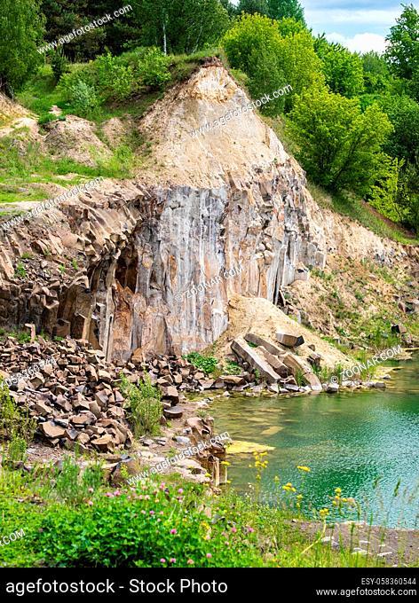 Summer Basalt Pillars Geological Reserve and Basaltove lake, Kostopil district of Rivne region, Ukraine