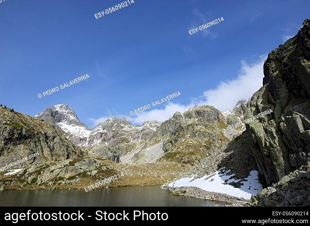 Palas Peak and Arriel lake in the Pyrenees, Tena Valley, Huesca Province, Aragon in Spain