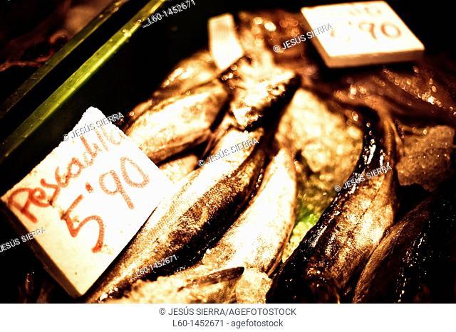 Fish market in Mundaka, Biscay, Spain