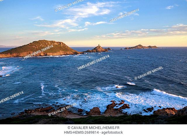 France, Corse du Sud, Gulf of Ajaccio, islands of the Sanguinaires, from left to right the peninsula of Parata and the Tower of Parata