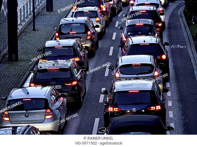 DEU , GERMANY : Commuter traffic in Bonn , 01.02.2018 - Bonn, Northrhine-Westfalia, Germany, 01/02/2018