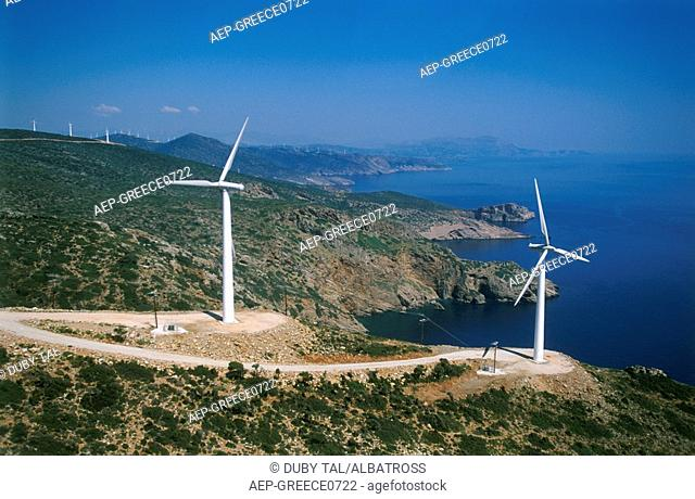 Aerial photograph of the wind turbines of the Greek island of Evia