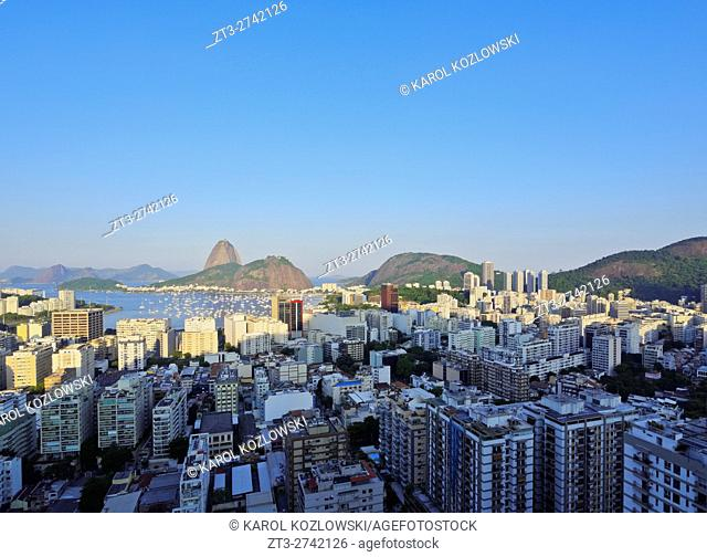 Brazil, City of Rio de Janeiro, View over Botafogo Neighbourhood towards the Sugarloaf Mountain
