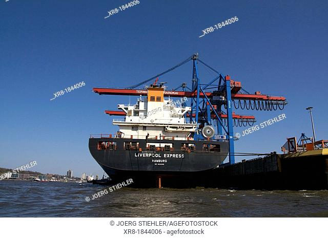 Liverpool Express, Elbe, Terminal Burchardkai, Port of Hamburg, load and unload cargo