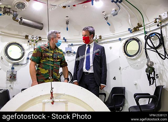 Minister of Foreign Affairs and Defence Philippe Goffin pictured during a visit of Defence Minister to the military diving school at the Zeebrugge naval base