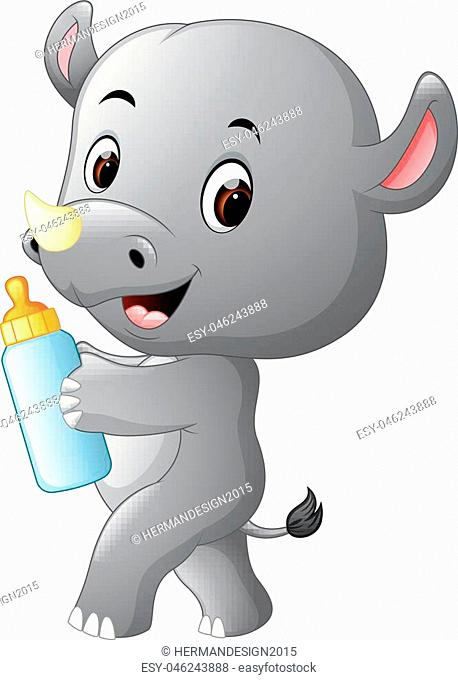 illustration of rhino holding baby bottle with nipple