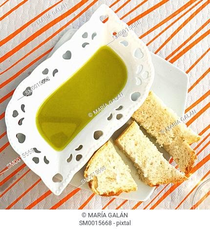 Olive oil and bread. View from above
