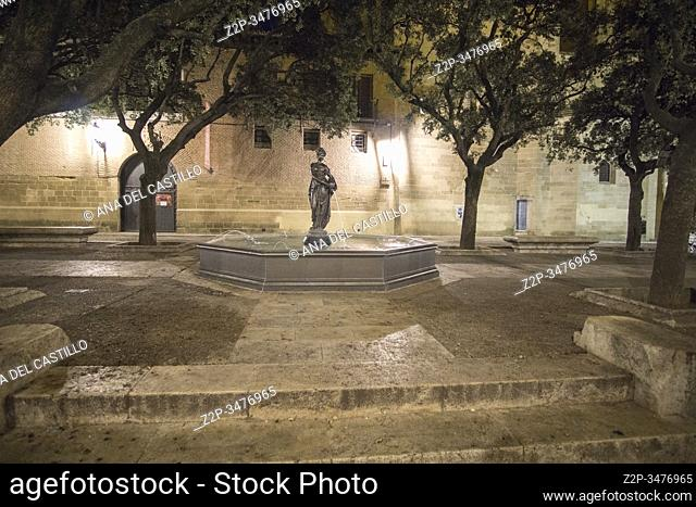HUESCA ARAGON SPAIN ON MARCH 15, 2019: The city hall square with the fountain
