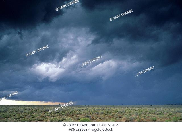 Thunderstorm (cumulonimbus) wall cloud over the Coconino Plateau, near the Grand Canyon, ARIZONA