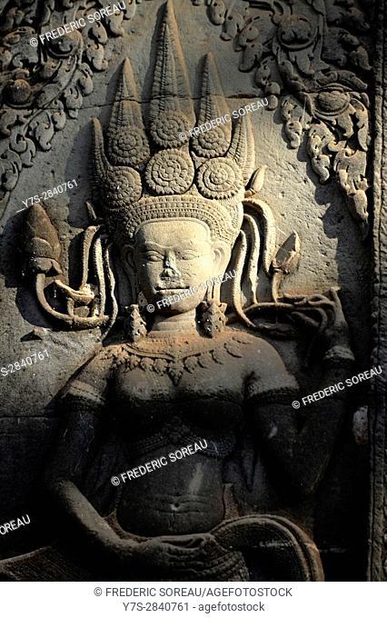 Devata at Angkor Wat temple,Cambodia,Indochina,Southeast Asia,Asia