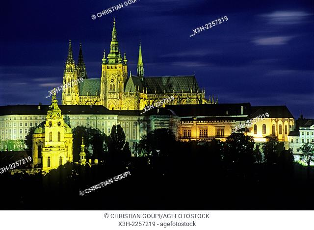 St.Vitus Cathedral and Castle of Prague by night, Czech Republic, Europe