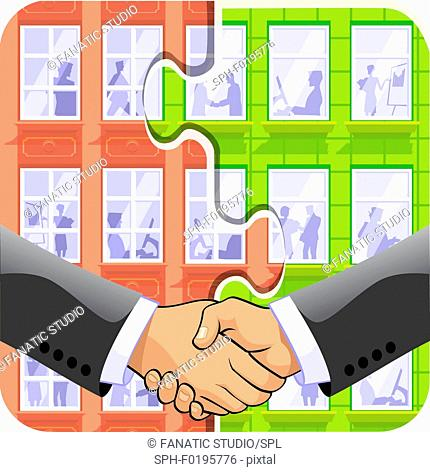 Two businessmen shaking hands, illustration