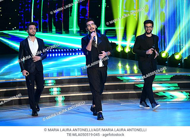 Il Volo (Gianluca Ginoble, Ignazio Boschetto, Piero Barone) during the performance at the tv show Ballando con le stelle (Dancing with the stars) Rome