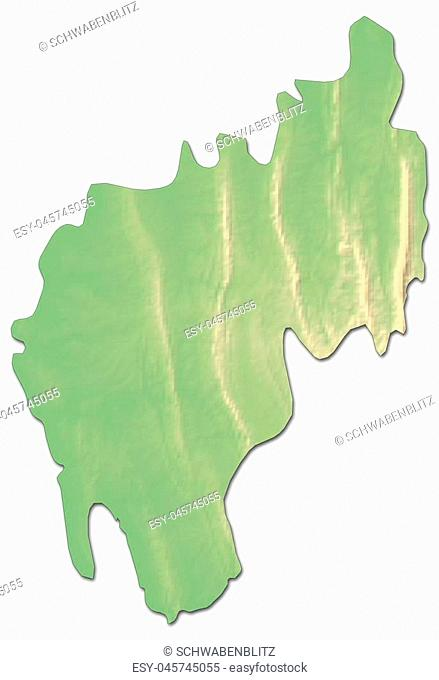 Relief map of Tripura, a province of India, with shaded relief