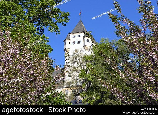 Europe, Luxembourg, Colmar-Berg, Berg Castle (The Grand Duke of Luxembourg's Principal Residence) set amongst beautiful gardens