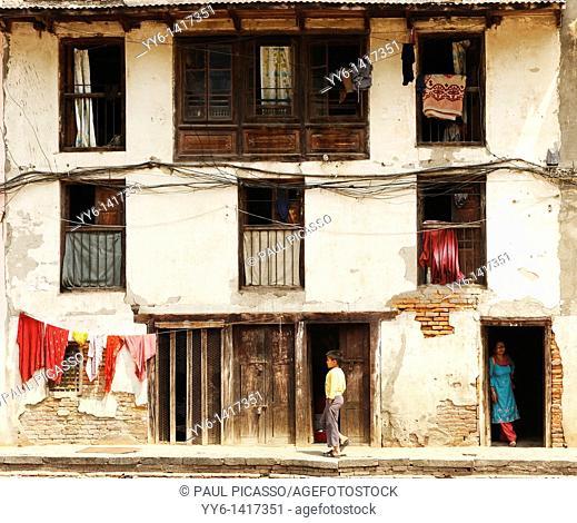 old nepalese style house , backstreets of kathmandu, nepal