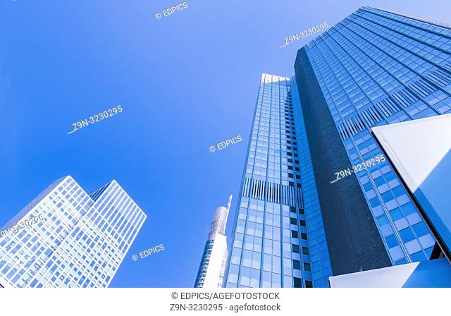 skyscrapers in central business district, frankfurt am main, hesse, germany