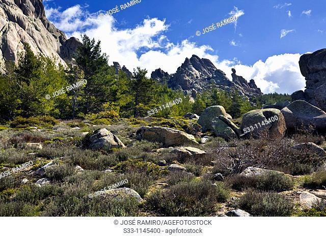 The cliffs of Navajuelos in Pedriza Regional Park Cuenca Alta del Manzanares Madrid Spain