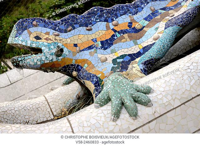 "Spain, Catalonia, Barcelona, World Heritage Site, Park Guell, Mosaic of """"El Drac"""", the dragon"