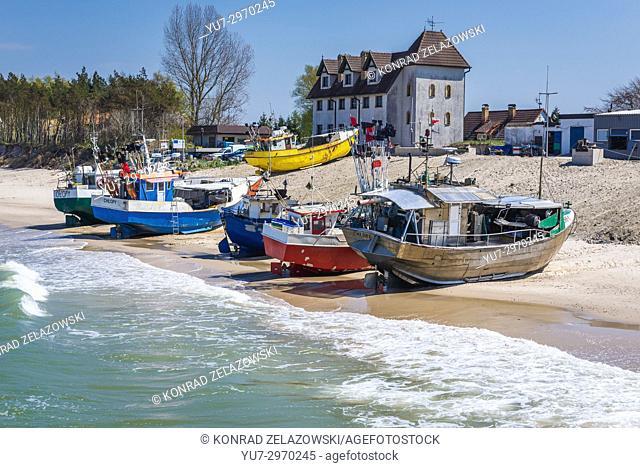 Fishing harbor in Chlopy village, Koszalin County in West Pomeranian Voivodeship of Poland