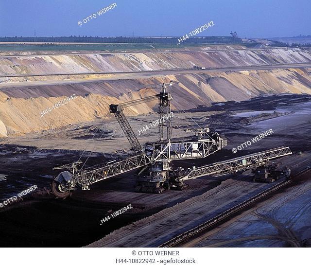 excavator, brown coal, dismantling, opencast mining, industry, coal, dismantling area Garzweiler, Juchen, Lower Rhine