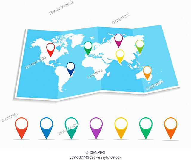 World map with geo position pins travel elements composition. EPS10 vector file organized in layers for easy editing