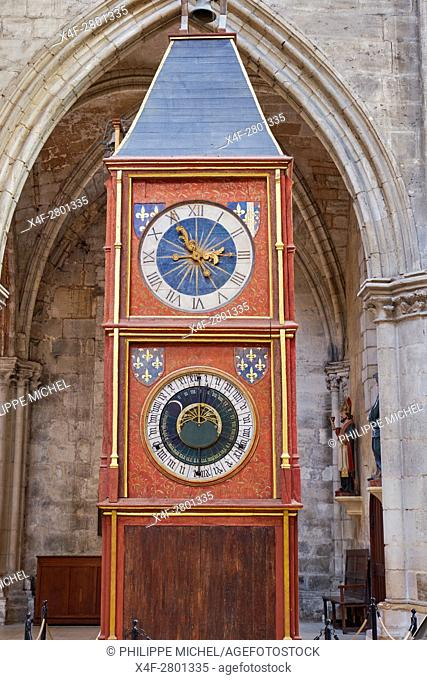 France, Cher (18), Bourges, St Etienne cathedral, UNESCO world heritage, astronomic clock tower