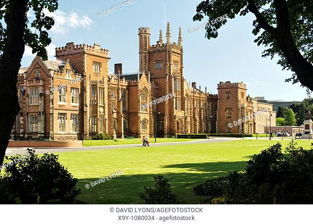 Queen's University, Belfast, Northern Ireland established 1845  The Gothic facade of the Lanyon Building