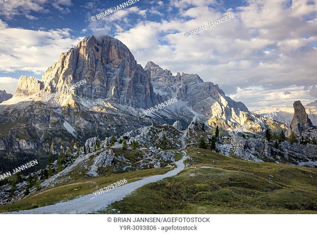 Evening sunlight over Tofana de Rozes and Cinque Torri, Dolomite Mountains, Veneto, Italy