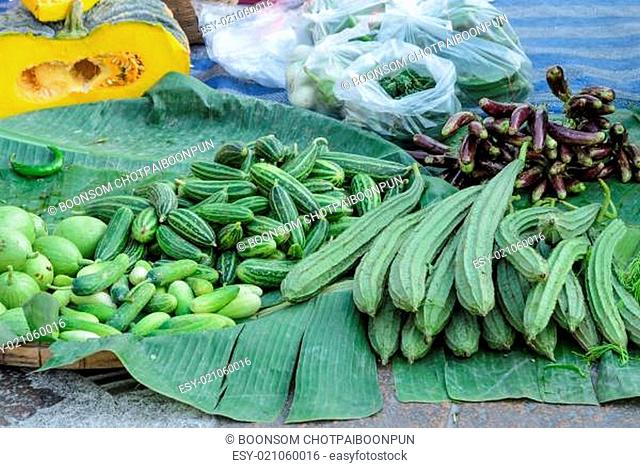Fresh vegetables on street market in Thailand