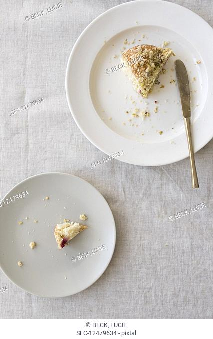 A white plate with a piece of cake and a plate with a piece of cake with crumbs