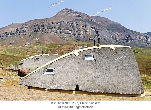 Chalets of Didima state camp, Champagne Castle valley, Drakensberge mountains, Kwazulu-Natal, South Africa, Africa