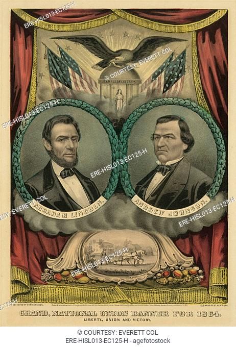 Grand national union banner for Abraham Lincoln and his 1864 running mate, Andrew Johnson of Tennessee