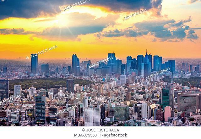 Japan, Tokyo City, Shinjuku skyline, sunset