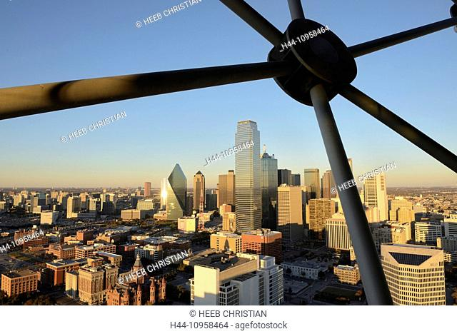 North America, Texas, USA, United States, America, Dallas, Reunion Tower, deck, downtown, city, view, rooftop