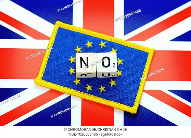 EU flag on Union Jack, letter cubes forming the word no