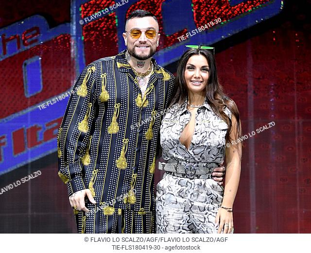 Gue' Pequeno, Elettra Lamborghini during the photocall of tv show The voice of Italy, Milan, ITALY-18-04-2019