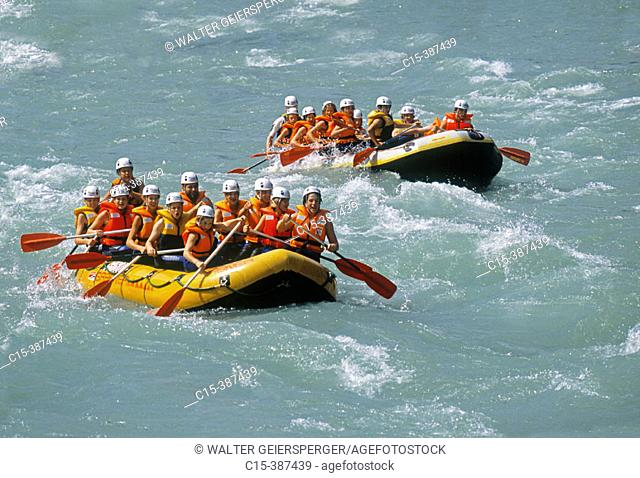 River rafting, Salzach river. Salzburg county, Austria