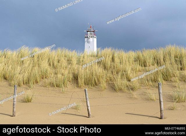 Beach dune with lighthouse, Noordwijk aan Zee, North sea, South Holland, Netherlands