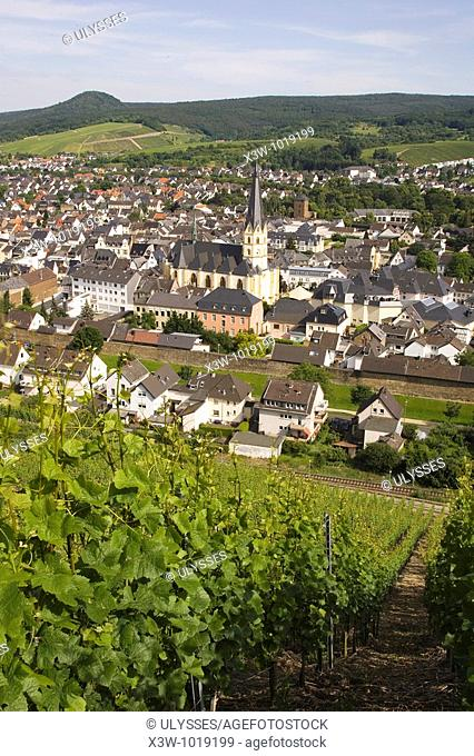 Europe, Germany, Rhineland, area of Bonn, Ahrweiler, vineyards, trail of the wine, panoramic view