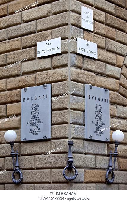 Bulgari jewellers sign on corner of Via de Tornabuoni and Via Degli Strozzi in Florence, Tuscany, Italy