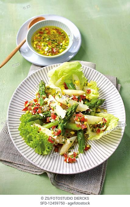 Green and white asparagus salad with tomato and egg vinaigrette
