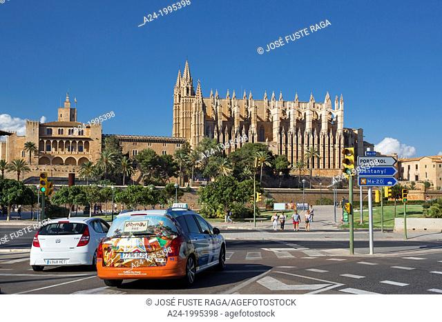 Spain , Mallorca Island, Palma City,Almudaina Palace and La Seu Cathedral