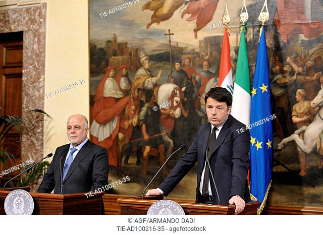 President of the Council of Ministers Matteo Renzi with the the Prime Minister of the Republic of Iraq, Haider Al-Abadi attends the bilateral meeting Italy-iraq