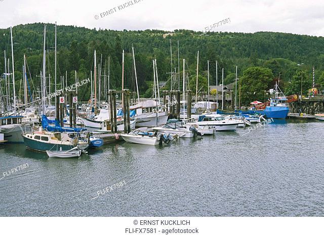 Harbour, Boats Docked in Centennial Wharf, Gulf Islands, Salt Spring Island, British Columbia