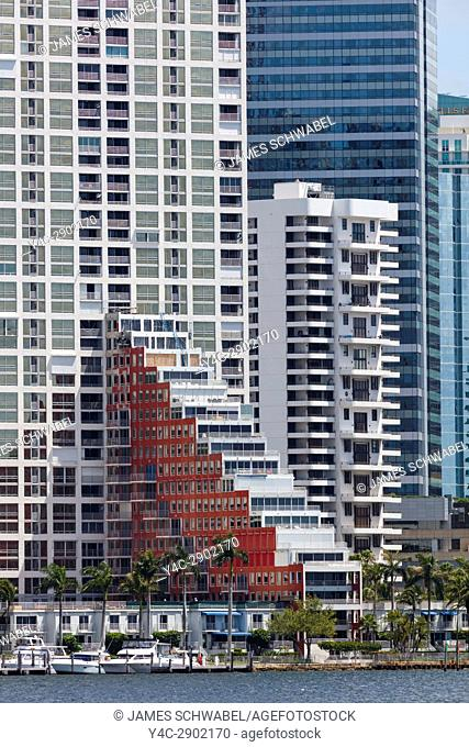 Abstract details of exterior of modern buildings in Miami Florida