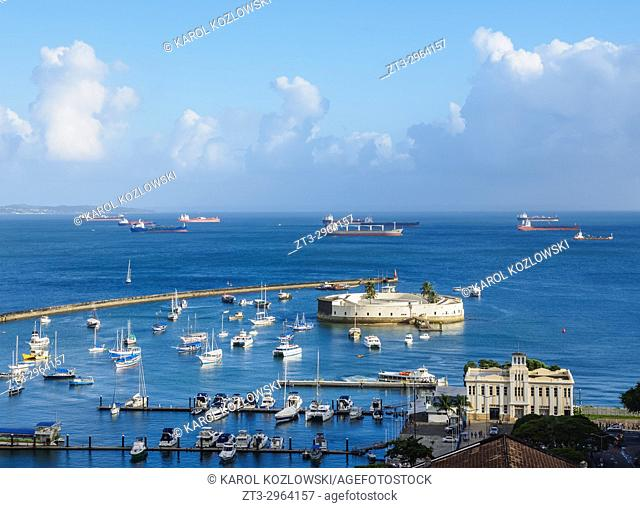 Porto dos Saveiros and Sao Marcelo Fort, elevated view, Salvador, State of Bahia, Brazil